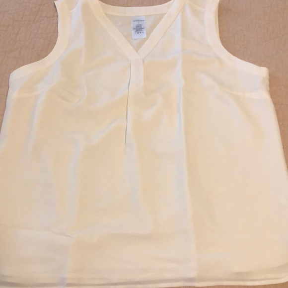 Lands' End cream color sleeveless blouse NWT